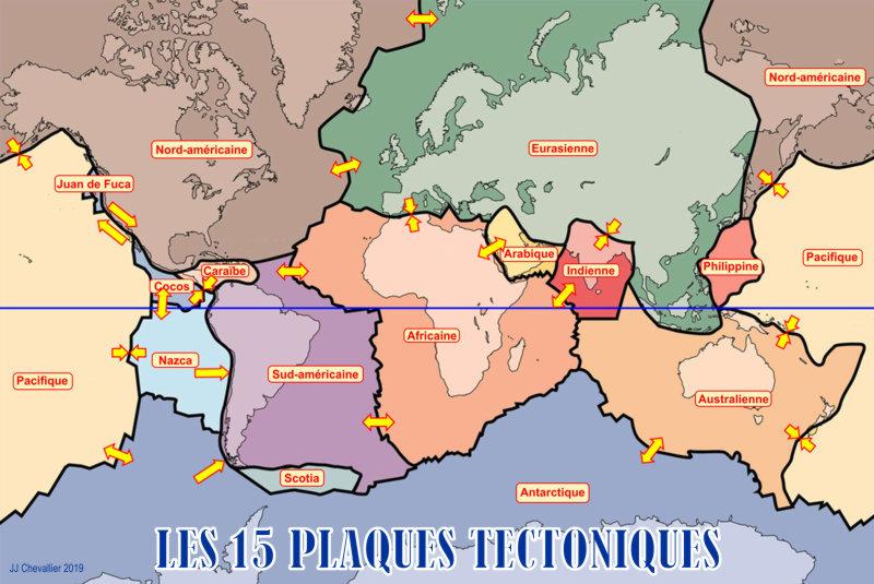 15 plaques tectoniques