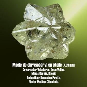Chrysocberyl macle cyclique en étoile.