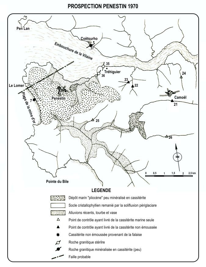 Carte de la prospection à Pénestin, 1970.