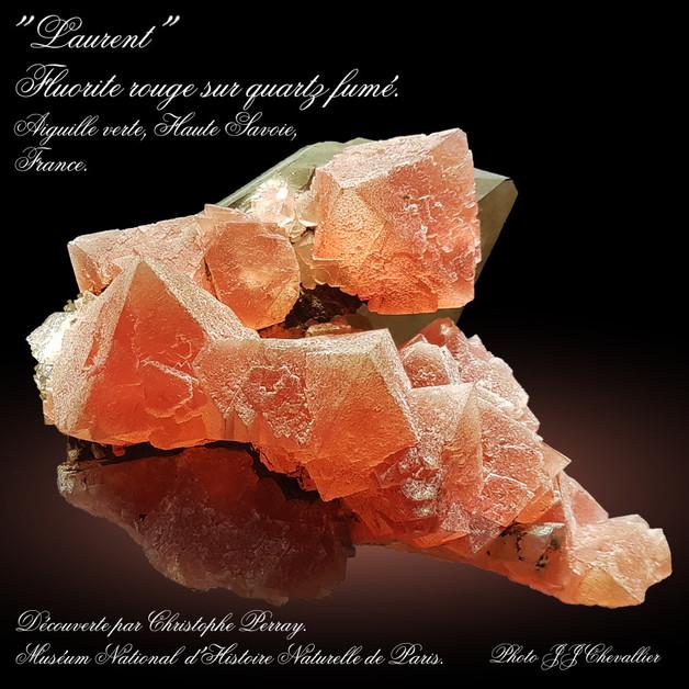 2021 - Avril - Laurent, Fluorite rouge sur quartz fumé.