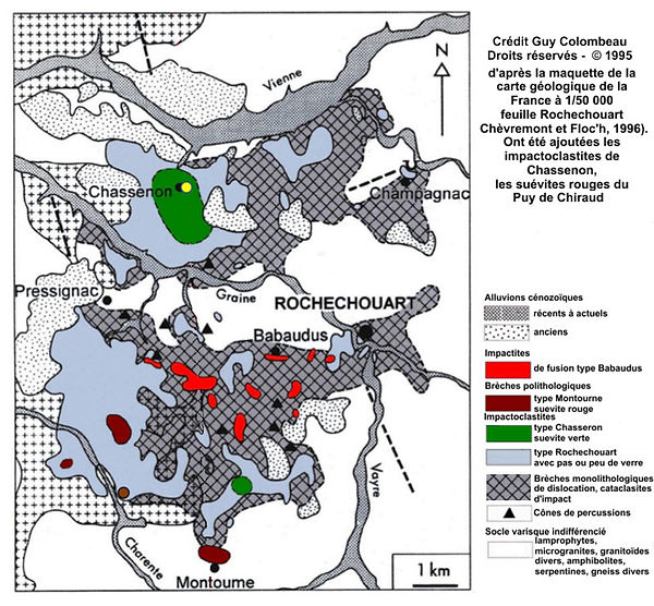 Carte géologique, astroblème de Rochechouart-Chasseron
