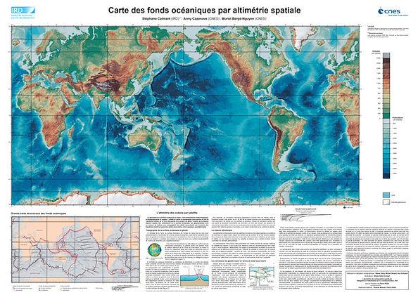 Carte des fonds océaniques par altimétrie spatiale