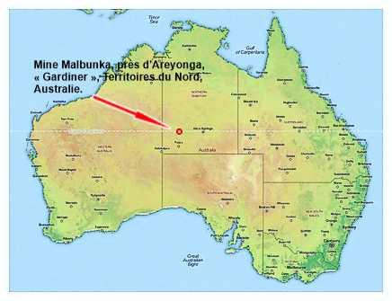 Carte de la mine Malbunka, près d'Areyong, Australie.