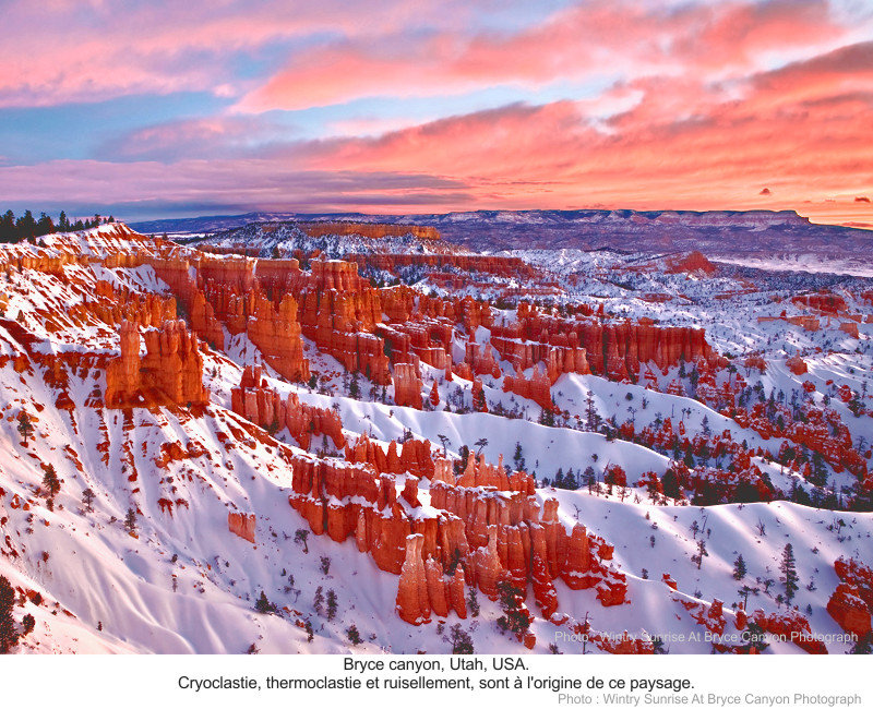 Cryoclastie, thermoclastie, ruisellement. Bryce canyon, Utah, USA.