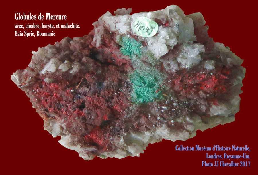 Mercure cinabre malachite baryte - MHN Londres