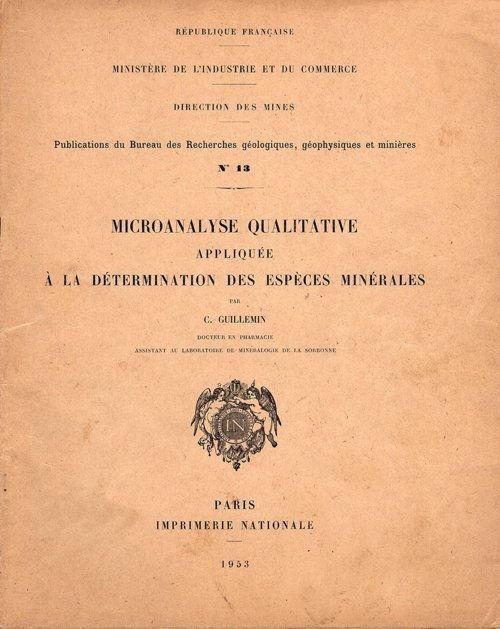 Micro analyse quantitative appliquée à la détermination des espèces minérales.