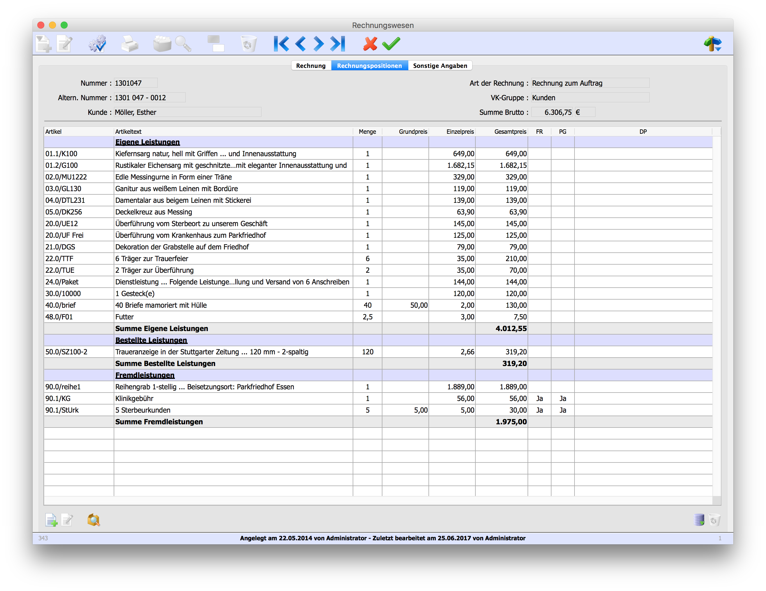 Rechnung Dateneingabe