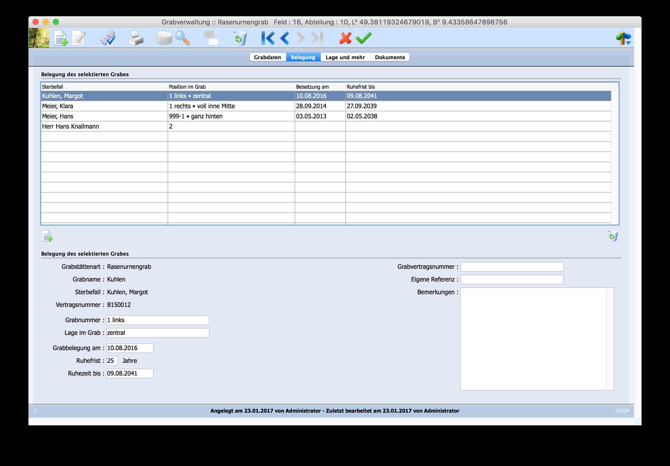 Grabverwaltung Dateneingabe