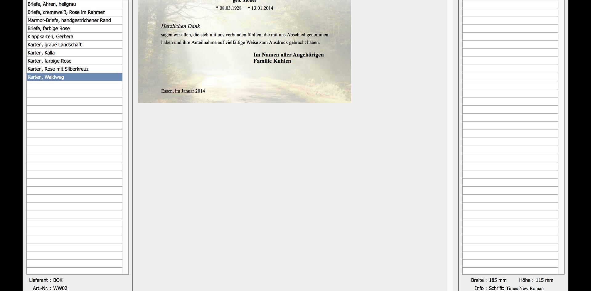 Trauerdruck-Browser Beispiel 2