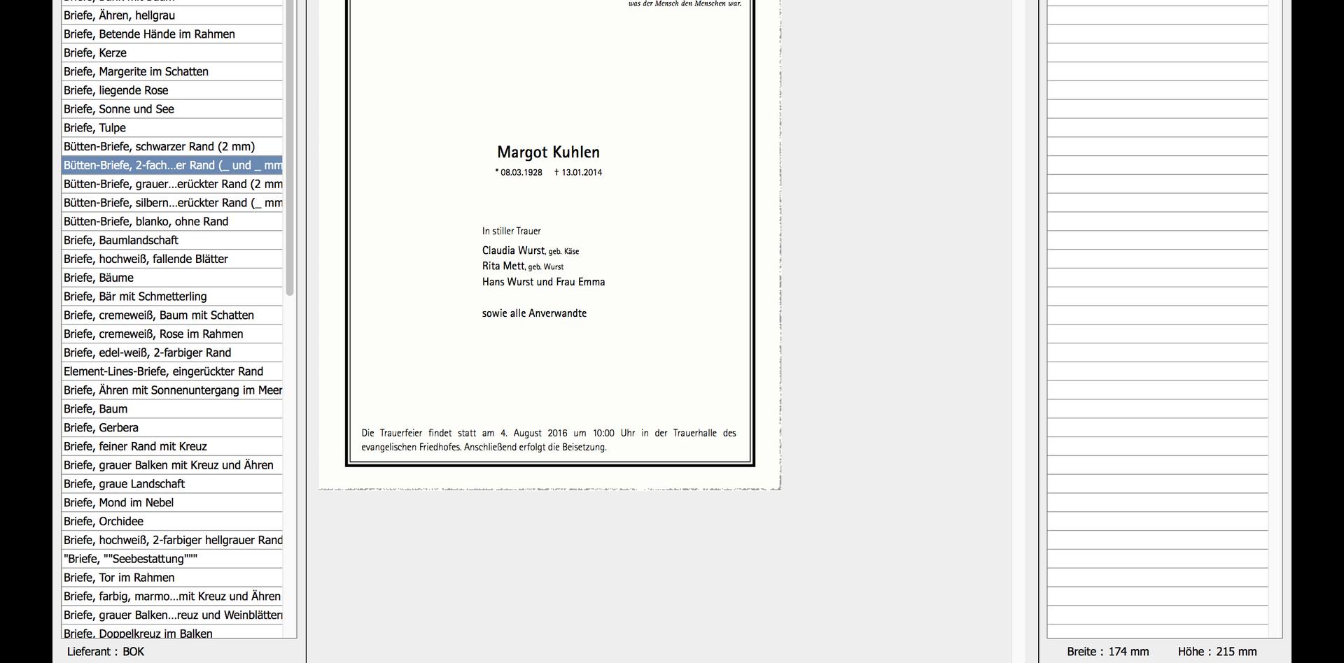 Trauerdruck-Browser Beispiel 3