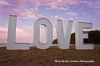 Giant 6ft Tall LOVE Letters on the Beach at Charlesworth Bay Coffs Harbour