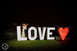 Giant 6ft Tall Light Up LOVE Letters and LOVE Heart at Night at Villa Vivante Coffs Harbour