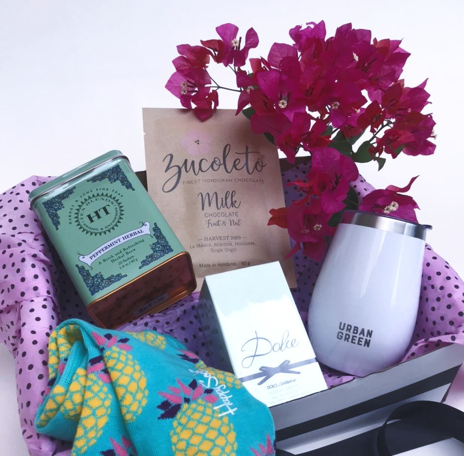 Luxury Gift Box for Her! Dolce by Dolce&Gabbana large bottle perfume, Tumbler for cold/hot beverages, Honduran Chocolate Bar, Peppermint Tea tin and One pair of extra fun Happy Socks.