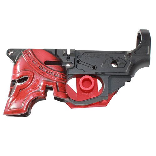 Spike's - Spartan Black Finish w/ Red Helmet - Lower Receiver Assembly