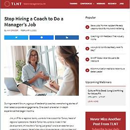 Stop Hiring a Coach to Do a Manager's Job