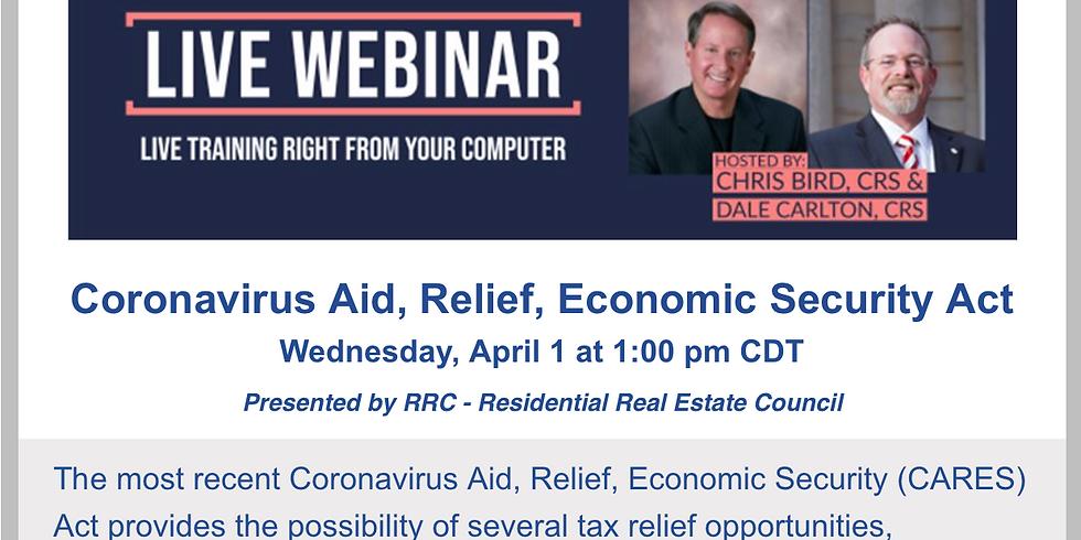 2pm. Coronavirus Aid, Relief, and Economic Security Act
