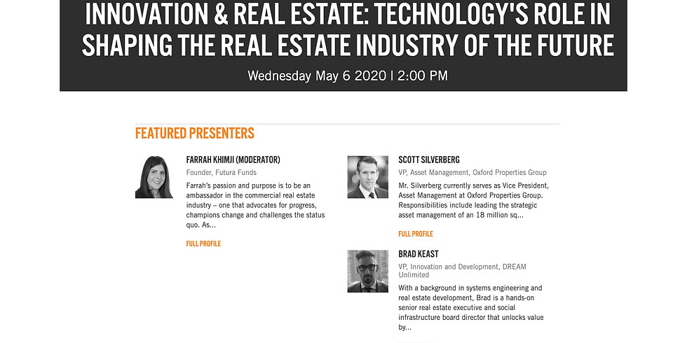 2PM.  BISNOW: INNOVATION & REAL ESTATE: TECHNOLOGY'S ROLE IN SHAPING THE REAL ESTATE INDUSTRY OF THE FUTURE
