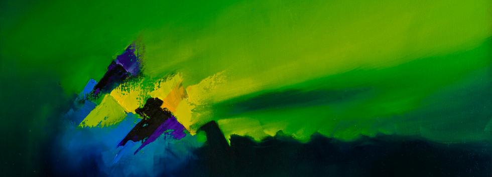 Amanecer en la tierra óleo sobre lienzo 40 x 70 cm