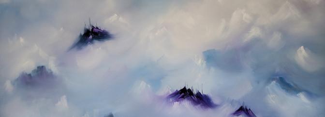 Llegando al cielo óleo sobre lienzo 100 x 180 cm
