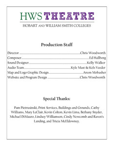 Supernatural Saunter Playbill Staff and Special Thanks