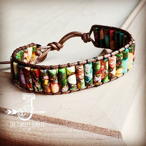 Woven Regalite Stacked Stone Bracelet by The Jewelry Junkie