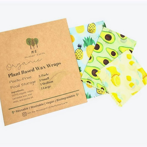 3 pack Plant Based Wax Food Wraps by Me Mother Earth