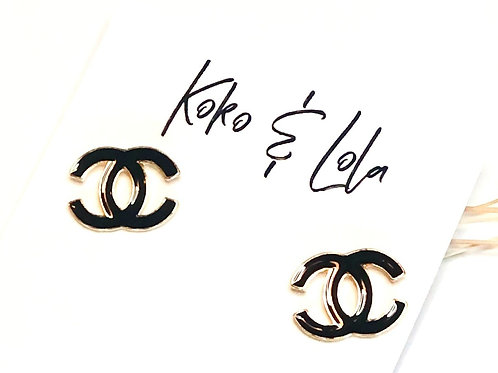 Double C Stainless Steel & Black Enamel Stud Earrings by Koko & Lola