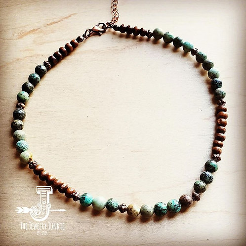 African Turquoise Choker Necklace by The Jewelry Junkie