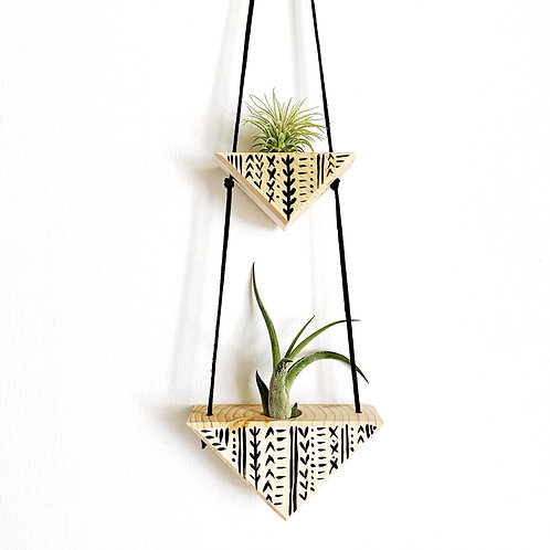 2 Triangle Air Plant Wall Hanging with Air Plants by Wildly Urban