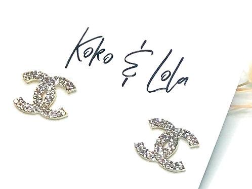 Gold Double C Swarovski Stud Earrings by Koko & Lola