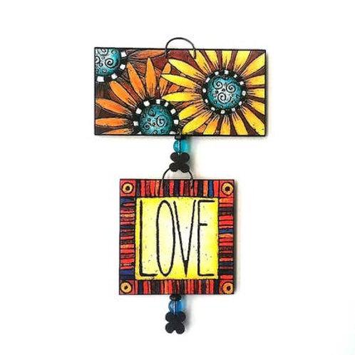 Handpainted Love My Sunflowers Tile Set by MY Art