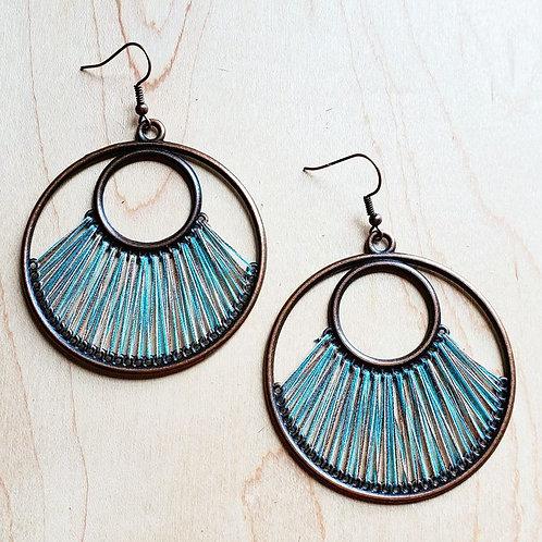 Denim Blue Fan Woven Hoop Earrings by The Jewelry Junkie