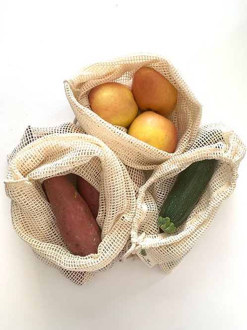 3 pack Reusable Cotton Produce Bags by Me Mother Earth