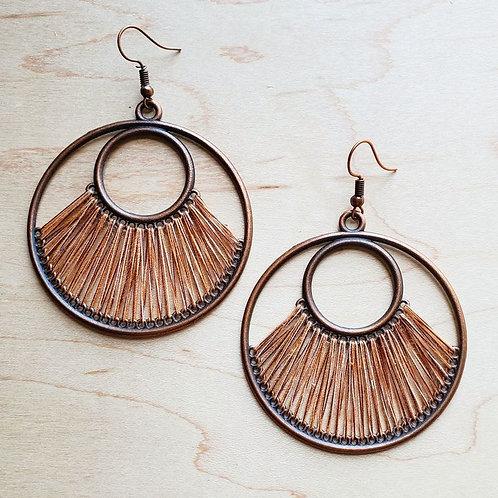 Terra Cotta Fan Woven Hoop Earrings by The Jewelry Junkie