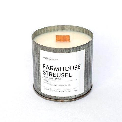 Farmhouse Streusel - Rustic Vintage Wood Wick Candle by Anchored Northwest