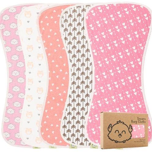 Organic Cotton Baby Burp Cloths - Pink Dreams by KiaBabies