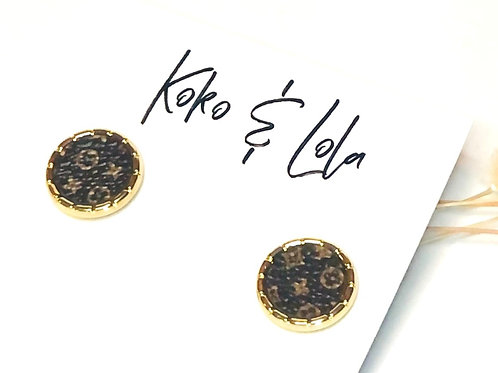 Gold Beveled Edge, made from Up-cycled LV Leather Earrings by Koko & Lola