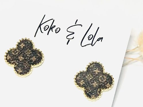 Gold Beveled, Flower, Up-cycled LV Leather Earrings by Koko & Lola