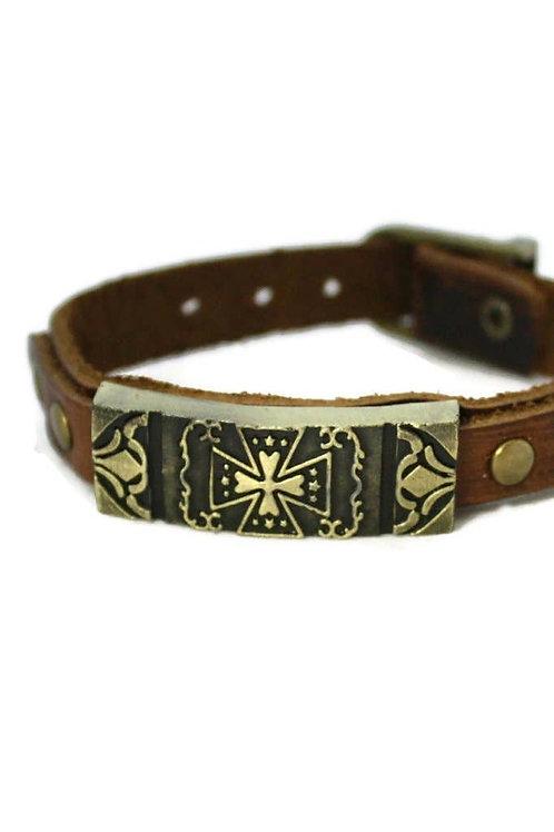 Studded Cross Leather Essential Oil Bracelet by Destination Oils
