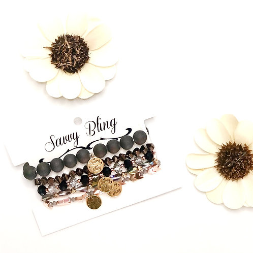 Mink-Charcoal and Rose Gold Bracelet Stack by Savvy Bling