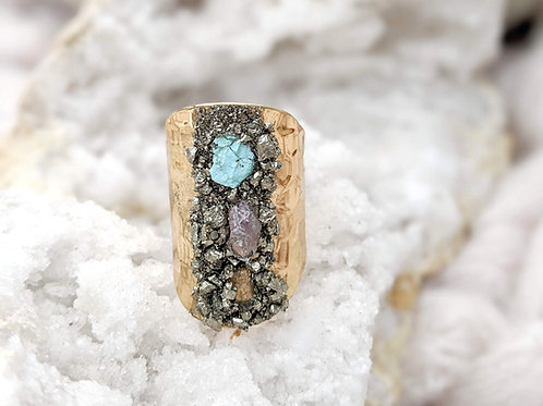 Boho Raw Stone Gold Plated Adjustable Ring by Dynamo