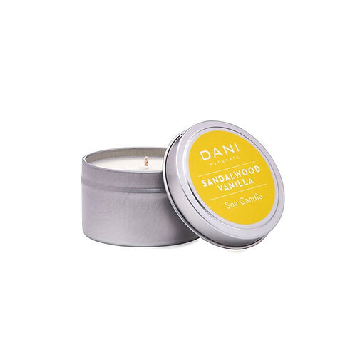 Sandalwood Vanilla Soy Candle in Tin by Dani