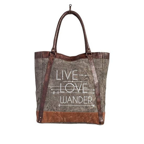 Live Love Wander Upcycled Tote by Mona B.