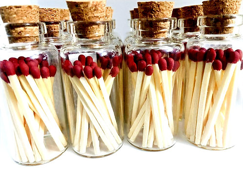 Apothecary Glass Bottle with 20ct Matches and Striker