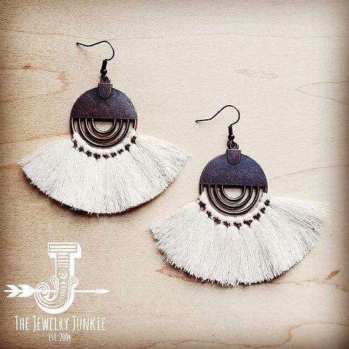 Cream Fan Tassel Earrings