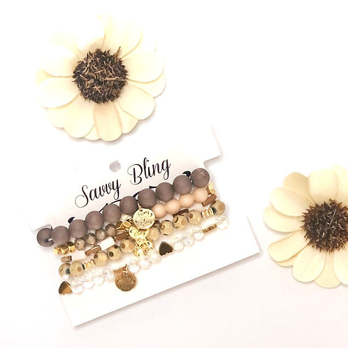 Vanilla Bean, Gold, Brown & Peach Bracelet Stack Bracelet Stack by Savvy Bling