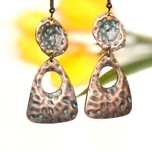 Hammered Brass Turquoise Earrings by Beautiful Boundaries