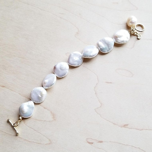 Freshwater Pearl Coin Bracelet by The Jewelry Junkie