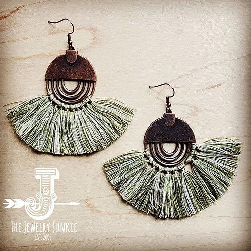 Army Green Fan Tassel Earrings