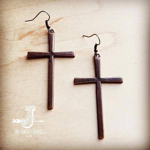 Copper Cross Earrings by The Jewelry Junkie